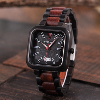 BOBO BIRD Square Design Stylish Wooden Watch For Men With Box