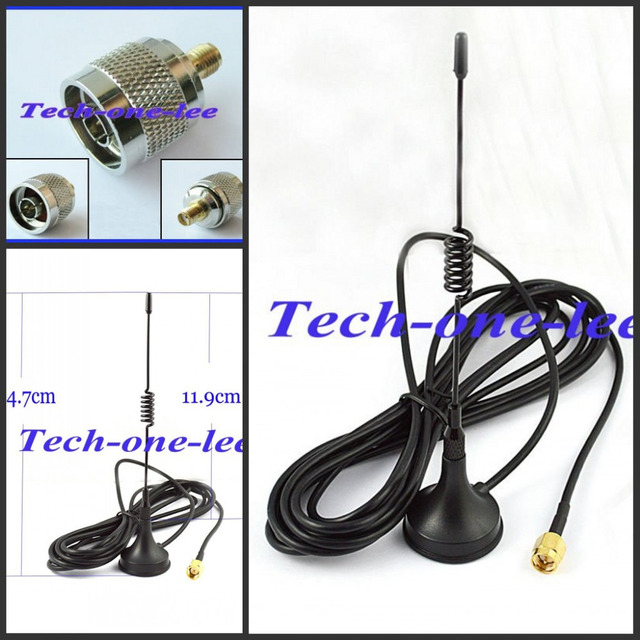 10 piece/lot 433Mhz 5dbi GSM Antenna SMA Plug Connector Straight with Magnetic base for Ham radio+A N male to SMA female Adapter