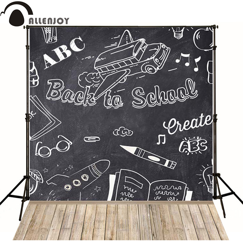 Allenjoy Photographic background Wooden pen books school bus newborn vinyl backdrops  lovely princess interesting wood недорого