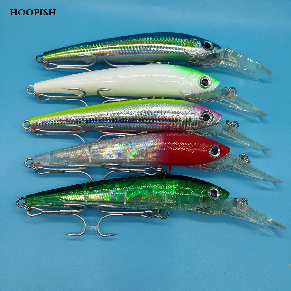 HOOFISH 1PCS/LOT minnow lure fishing lure 78g/225mm 5color 3D eyes Deep Sea Trolling Fishing bait Artificial bait Fishing lure