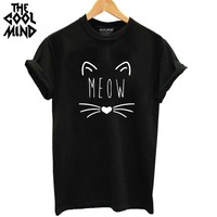 THE COOLMIND 2017 100% Cotton Meow Print Women T shirt Cat T-Shirt Casual Funny Shirt For Lady Top Tee Hipster