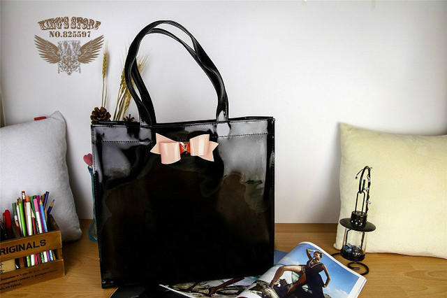 Free Shipping Pink Bow Women Jelly Handbags Black Erfly Pvc Ted Shoulder Bag England Blue