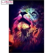 zhui star 5d diy diamond painting lion crystal diamond painting cross stitch color lions looking needlework home decorative