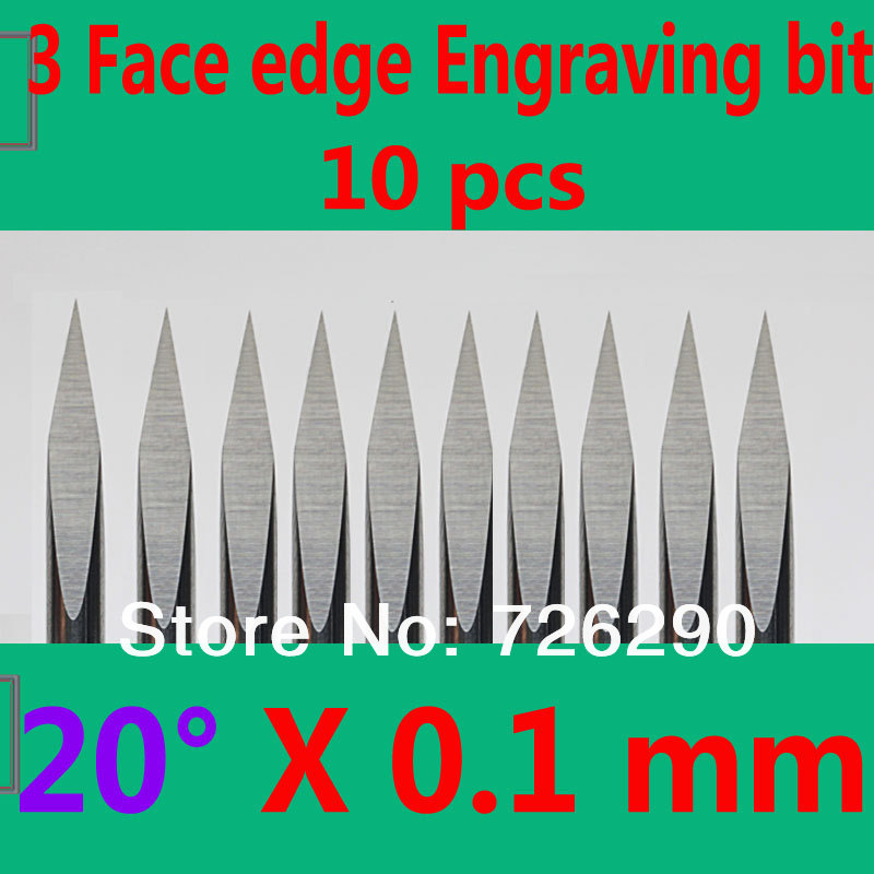 Free Shipping 10pcs 3.175mm Dia 20 Angle 0.1mm Tip 3 Edge Carbide Woodworking Tools Engraving Bits for CNC Router Machine