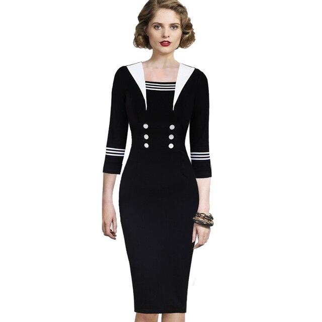 Vfemage Womens Vintage Retro Nautical Sailor Navy Button Rockabilly