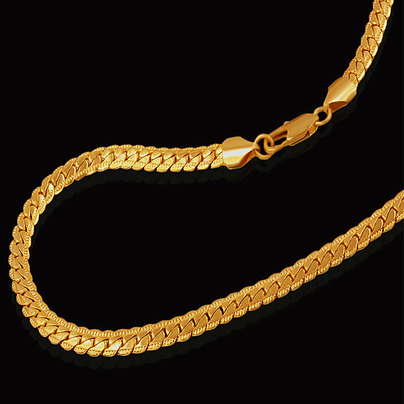 Marca Gold Color fashion Golden Snake Chain Necklace 2018 Chain Men Punk Jewelry Cadenas de oro al por mayor para mujeres Kpop Collares