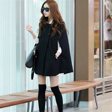 Women Korean Ladies Batwing Oversized Casual Poncho Winter Coat Jacket Loose Cloak Cape Outwear Black Coat M L NQ653575(China)