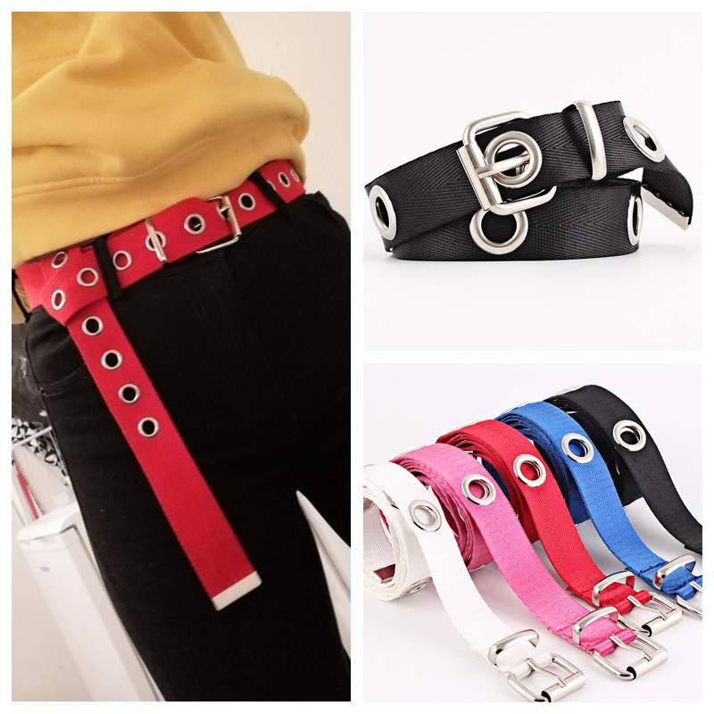Women Canvas Metal Ring Easy Matching Ladies Casual Hollowed Out Waist Belt