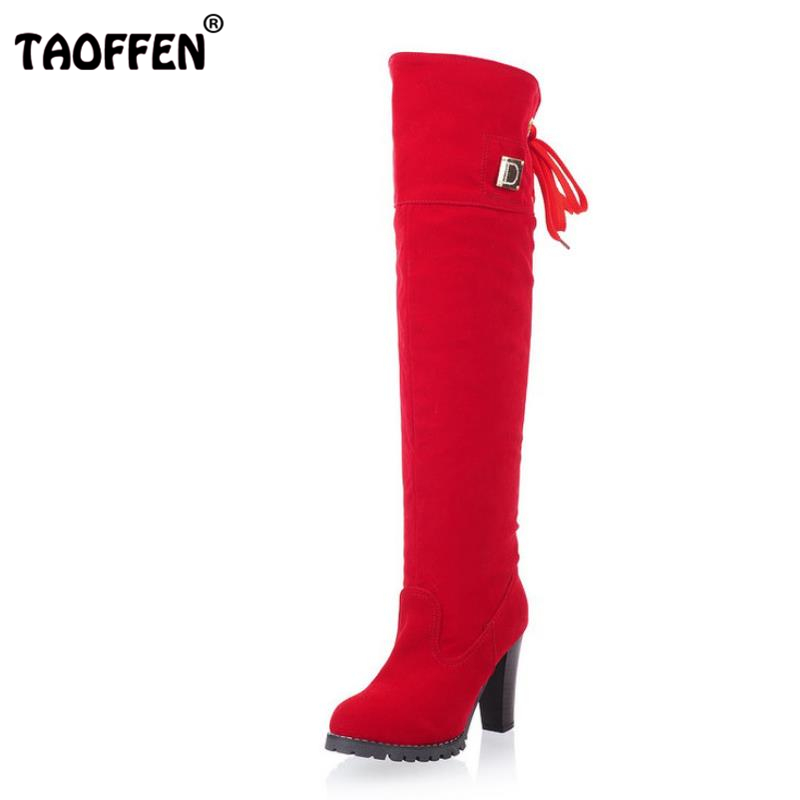 TAOFFEN Women Over Knee Boots Women Fashion Long Boot Winter Footwear High Heel Shoes Sexy Snow Warm P7909 EUR Size 34-43 free shipping over knee high heel boots women snow fashion winter warm footwear shoes boot p15646 eur size 30 49