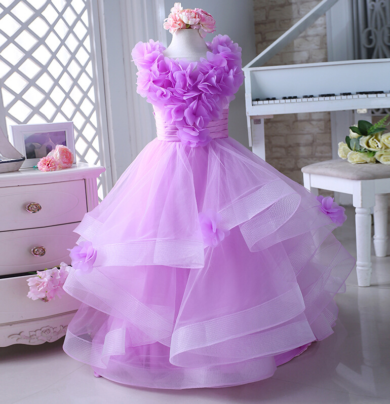 Mermaid Flower Girl Dress Tulle Girls Pageant Dresses for Girl Gown Ball Gown First Communion Dresses Ankle Length Elegant Dress fancy pink little girls dress long flower girl dress kids ball gown with sash first communion dresses for girls