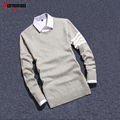 News Winter High-quality Casual Men's Round neck Long-sleeved Sweater Hedging Solid Color Cotton Shirt Bottoming Warm