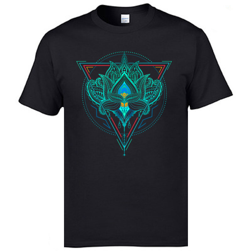 Men's High Quality Slim Fit T-Shirts The Flower Of Life Lotus Samsara Picture Round Collar Leisure Tops Tees 3XL Print T Shirt