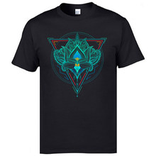 Men's High Quality Slim Fit T-Shirts The Flower Of Life Lotus Samsara Picture Round Collar Leisure Tops Tees 3XL Print T Shirt(China)