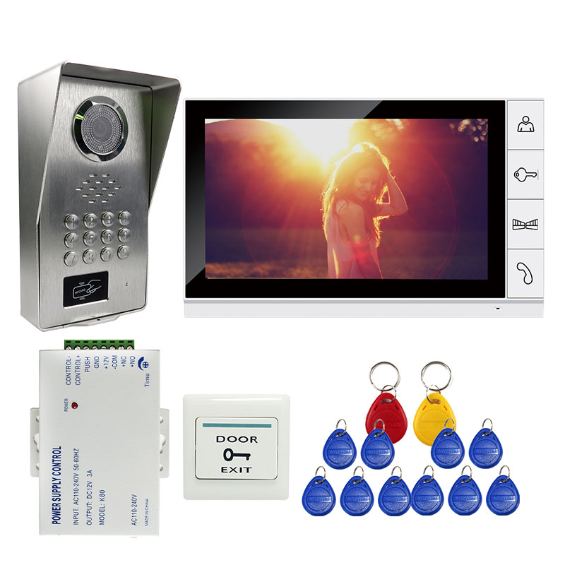Grenseure FREE SHIPPING 9 LCD Screen Monitor Video Intercom Phone System RFID Code Keypad Unlock Outdoor Camera + Power Control