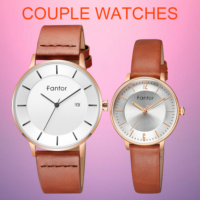 Fantor Lover's Watches For Couple Man Woman Top Brand Luxury Leather Quartz Wrist Watch Pair Casual Waterproof Clock Gift Set