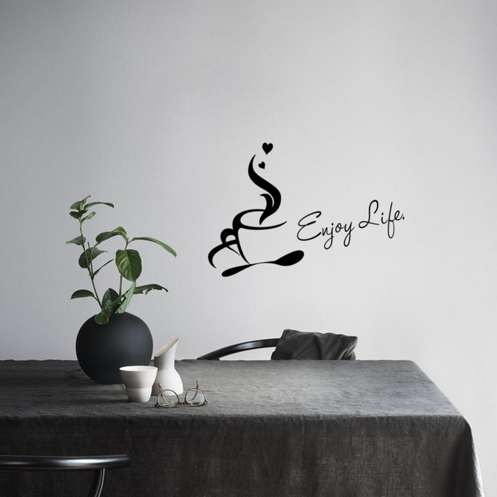 US $3.51 12% di SCONTO|Tazza di caffè Adesivo Da Parete In Vinile Godersi  La Vita Cita Adesivo Murale per Cucina Ufficio Arredamento Decorazione  Della ...
