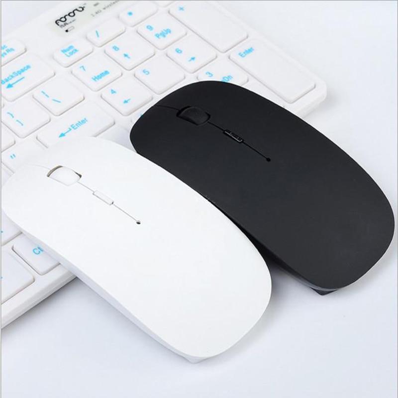 Ultradunne USB optische draadloze muis 2.4G-ontvanger Super slanke muis voor computer PC Laptop Desktop zwart wit Snoepkleur