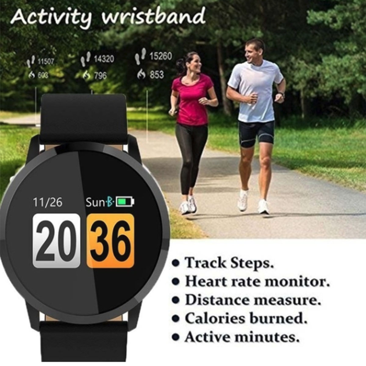 Image 2 - Q8 Smart Watch OLED Color Screen Touch Control Smartwatch Men Women Thin light Fashion Fitness Tracker Heart Rate monitor-in Smart Watches from Consumer Electronics