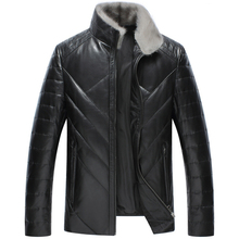 Leather Jacket Men Winter Sheep skin Jacket and Coat Thickening White Duck Down Warm Skin Lamb Fur Trench Coat Plus Size 4XL