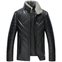 Leather Jacket Men Winter Sheep Skin Jacket And Coat Thickening White Duck Down Warm Skin Lamb
