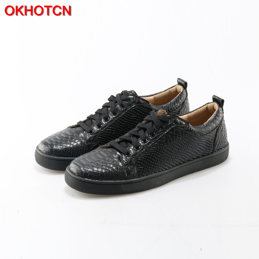 OKHOTCN High Quality Snake Casual Men Shoes Luxury Design Black Chaussure Homme Fashion Men Trainers Breathable Sneaker Flats gram epos men casual shoes top quality men high top shoes fashion breathable hip hop shoes men red black white chaussure hommre