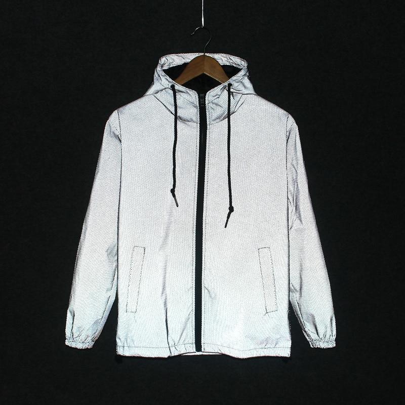 Funny Print Reflective Jacket Men/Women 2017 Brand Hooded Mens Jackets and Coats Casual Night Fluorescen Windbreaker Veste Homme