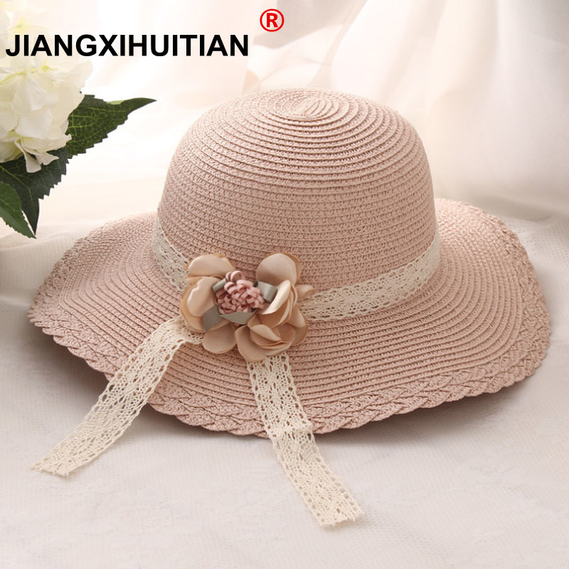 2017 Summer Fashion Design Wide Brim Flowers Lace Straw Hat Grils Flower Foldable Brimmed Sun Hat Summer Hats For Child