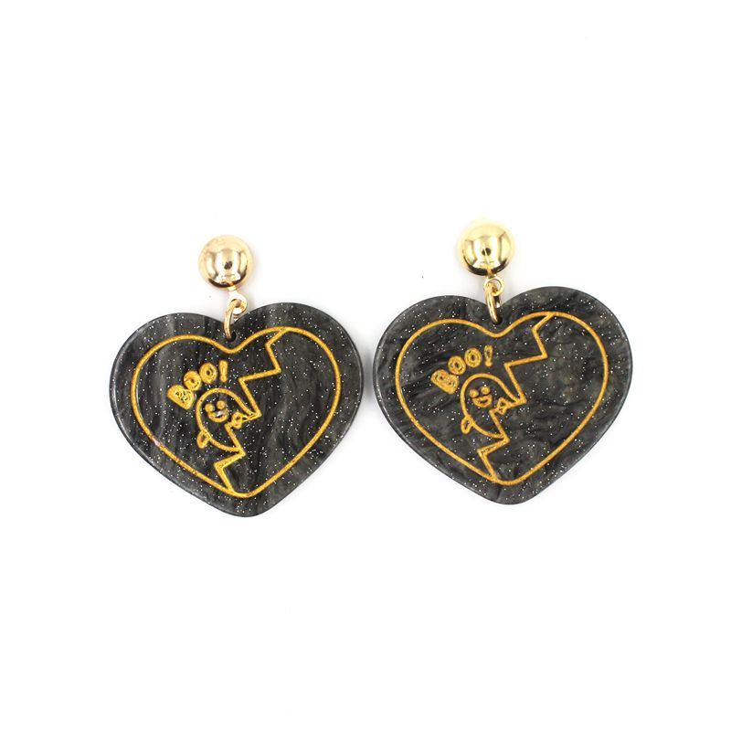 Acrylic Heart Ghost Stud Earrings Halloween Fashion Personality Women Night Club Jewelry