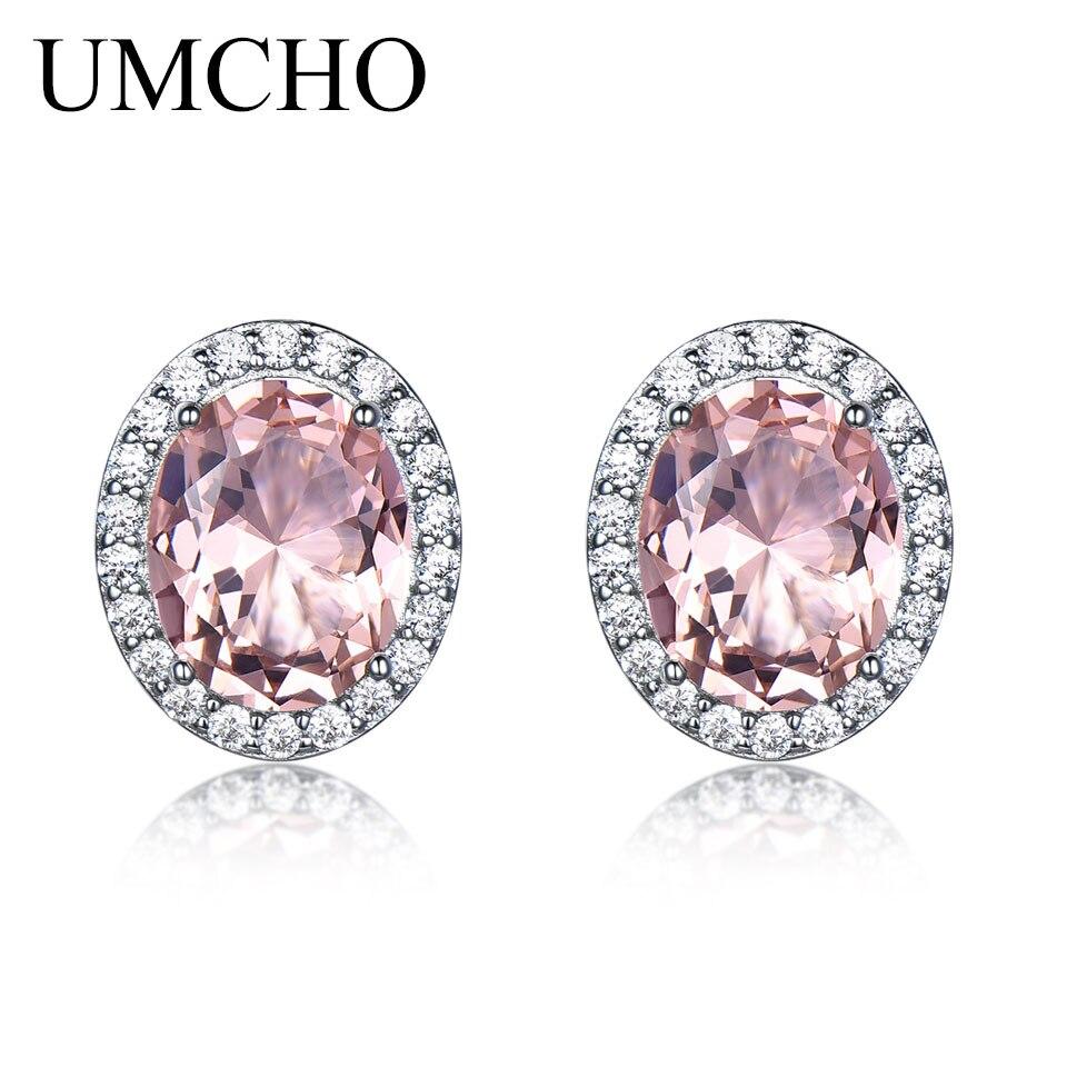 5de7099d5dbab UMCHO Solid 925 Sterling Silver Stud Earrings For Women Rose Pink Sapphire  Morganite Earrings Wedding Engagement Jewelry Gift