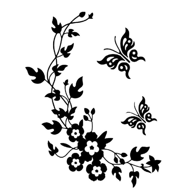 Hot removable diy mural wallpaper black butterfly flower wall stickers decal home decoration free shipping in wall stickers from home garden on hot removable diy mural wallpaper black butterfly flower wall stickers decal home decoration free shipping migh