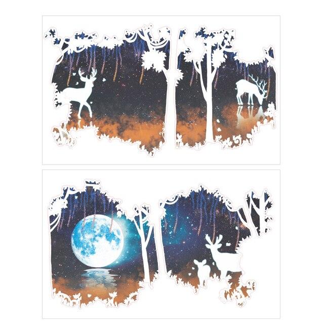 Romantique forêt cerf lune PVC stickers muraux enfants chambre salon  chambre toile de fond décor à la maison stickers muraux dans Stickers  muraux de ...
