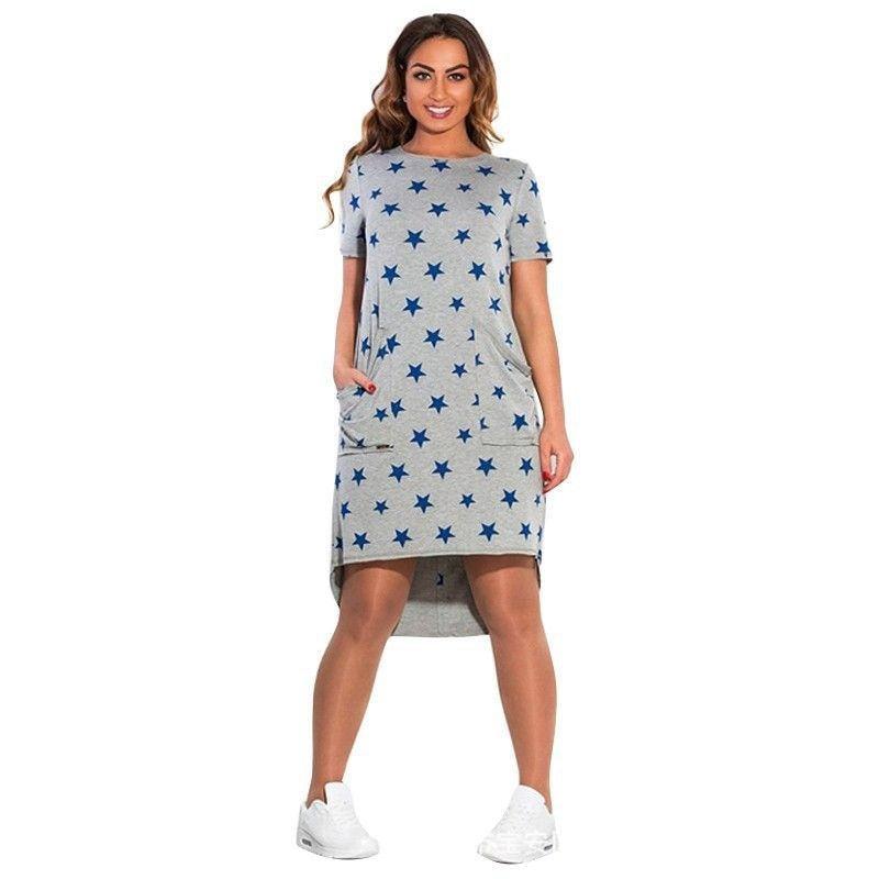 Plus size L-6XL2019 New Women's Dress Casual Summer Five Stars Irregular O Neck Short Sleeve Dress Big Size Vestidos C0410
