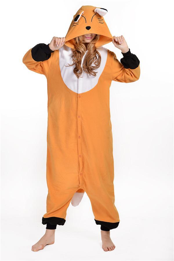 Cute Fox Kigurumi Pajamas Animal Suits Cosplay Halloween Costume Adult Garment Cartoon Jumpsuits Man And Woman Animal Sleepwear