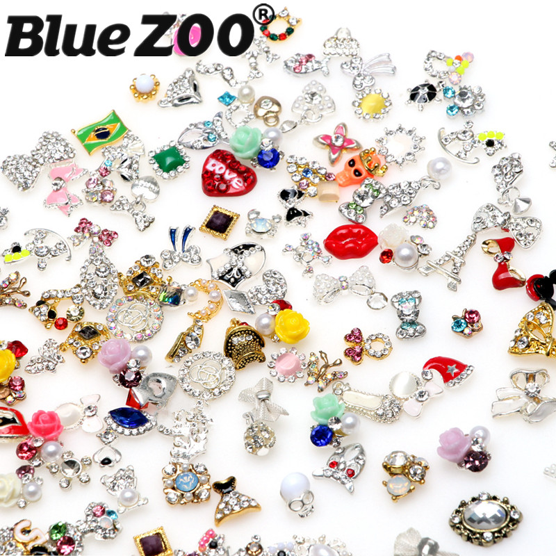 30pcs/pack Mixed Nails Design Beauty Nail Art Decorations Alloy Nail Jewelry DIY Charms 3D Nails Accessoires Wholesale