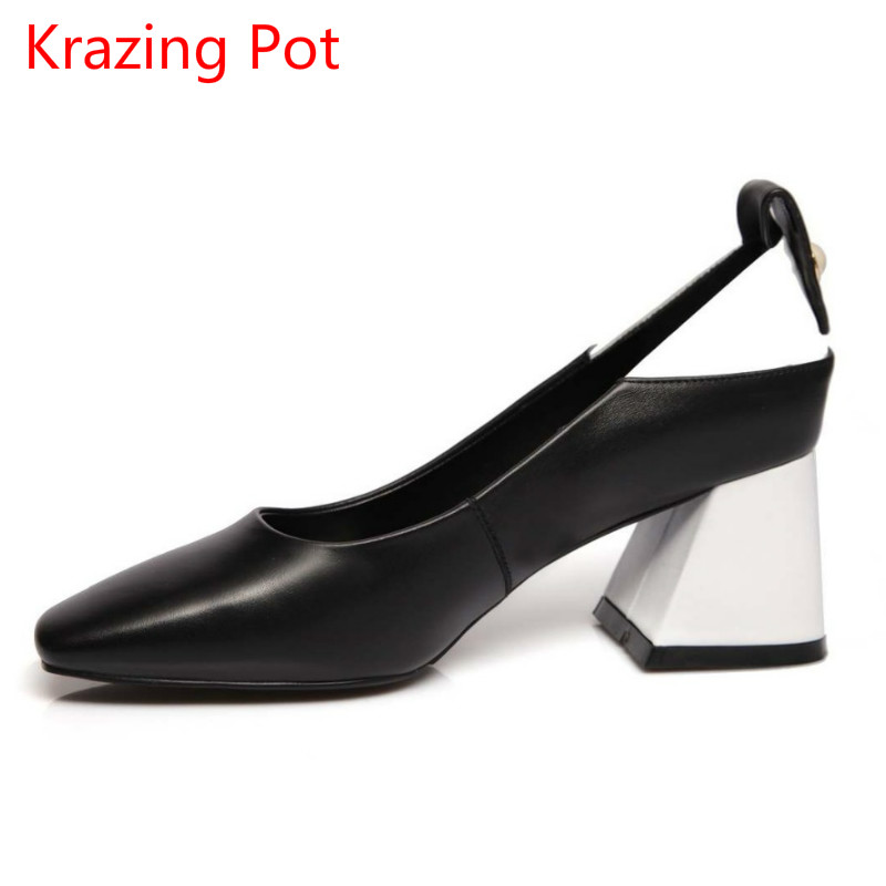 Fashion Brand Summer Shoes Genuine Leather High Heels Square Toe Slip on Party Women Pumps Office Lady Slingback Elegant Shoe 15