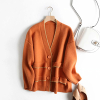 2019 winter sweet red ruffles single breasted women fashion autumn solid long knitwear sweater loose cardigans jumpers oversize