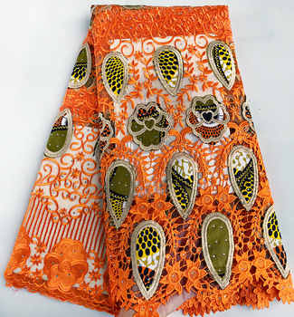 5 yards Genuine Wax 100% embroidery African french lace mix Guipure lace fabric excellent big high quality