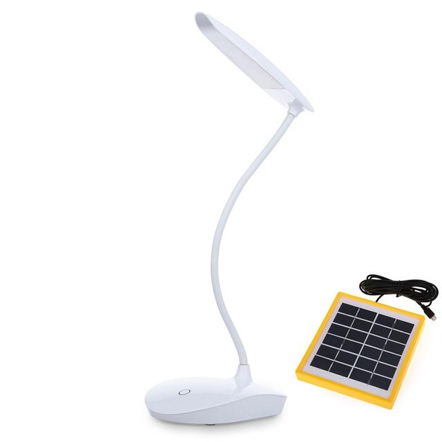 6 W Solar Powered LED Sensor de Luz de Lectura Lámpara de Escritorio Táctil Ajustable con Cable USB Iluminación Acampar Al Aire Libre Mesa de Estudio lámpara