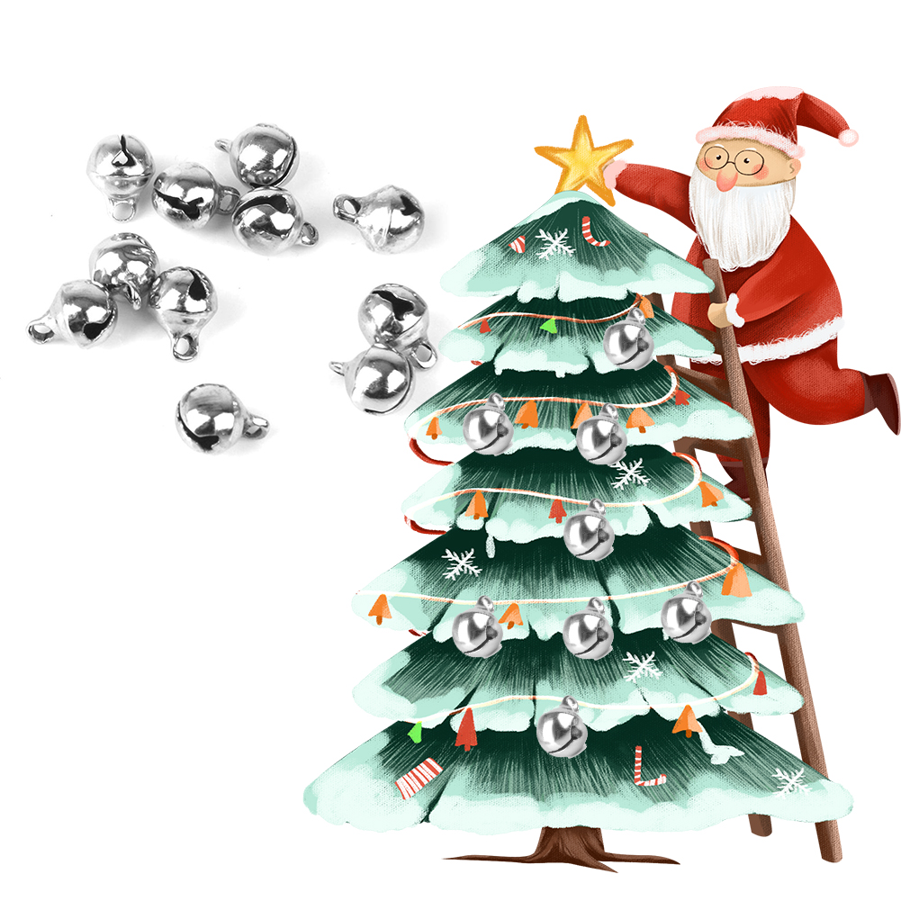100Pcs Christmas Bell Mini Metal Jingle Bells for Christmas Decoration Jewellery Making Craft Silver Size:6mm