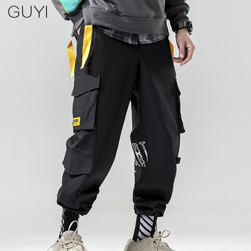 GUYI Cargo-Pants Pocket-Tag Purple Black Off-Style White Male Casual Fashion Letter Boy