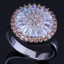 Exquisite Round Brown Cubic Zirconia White CZ 925 Sterling Silver Ring For Women V0481