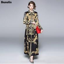 Banulin New 2018 Runway Brand Shirt Maxi Dress Womens Long sleeve Elegant Belt Vintage Palace Floral Print Party Dresses