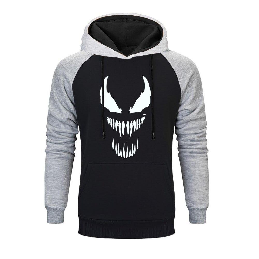 Hot Sale Newest Hoodies Men Venom Marvel Raglan Hoodie Men Superhero Anime Funny  Autumn Winter Mens Hoodies Harajuku Streetwear