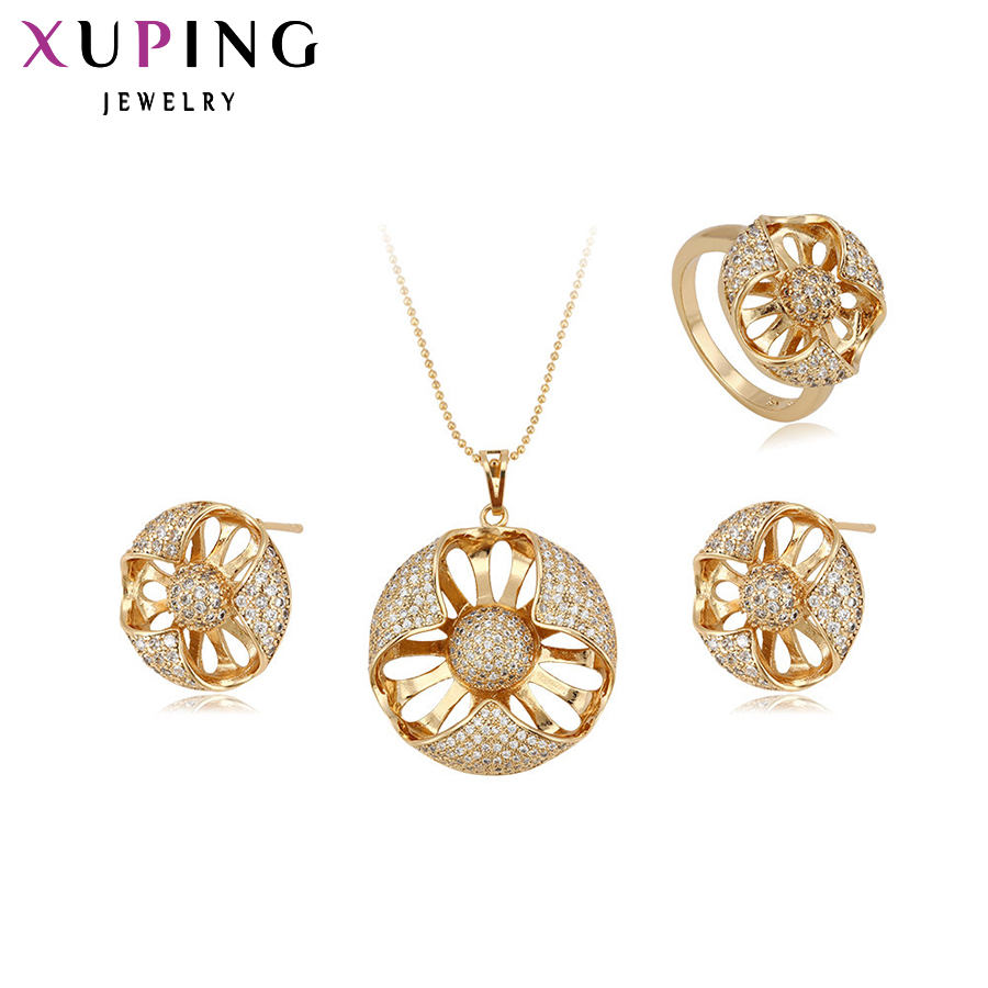 Xuping Fashion Set New Arrival Flower Style Women Gold Color Plated High Quality Imitation Jewelry Set 63230