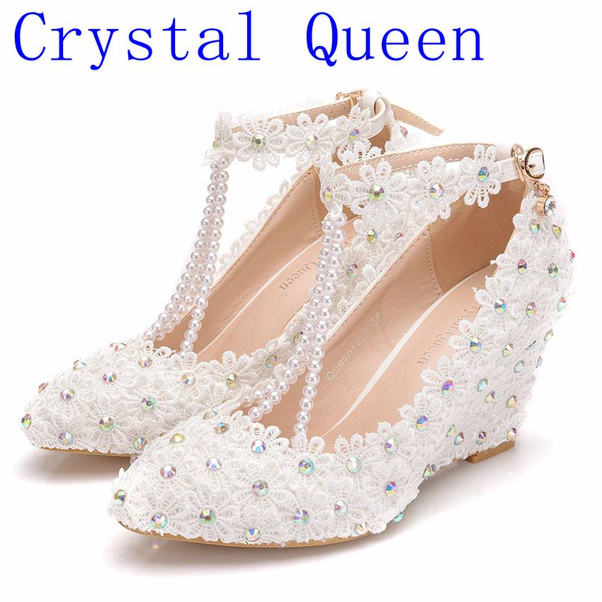 Crystal Queen White Flower Woman Wedding Shoes Lace Pearl High Heels Sweet Bride Dress Shoes Beading Wedges heels Pumps Crystal Queen White Flower Woman Wedding Shoes Lace Pearl High Heels Sweet Bride Dress Shoes Beading Wedges heels Pumps
