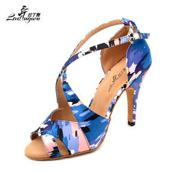 Ladingwu New Spring and Summer Dance Shoes Ladies Latin Camouflage style texture Ballroom Salsa Dance Shoes Women Satin