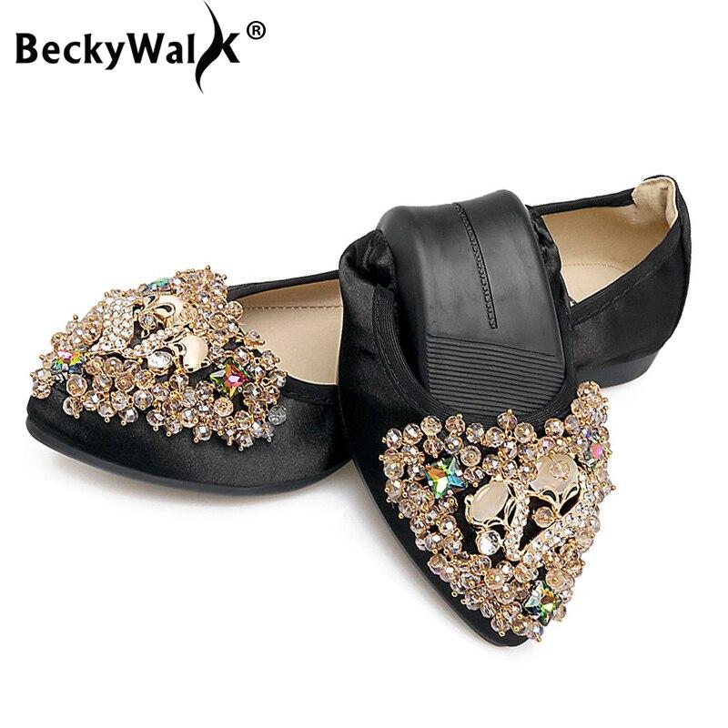 Neueste Kollektion Von 2019 Mode Strass Flache Damen Schuhe Zapatos Mujer Frühling Herbst Schuhe Frau Slip Auf Frauen Faltbare Wohnungen 34-42 Wsh2551