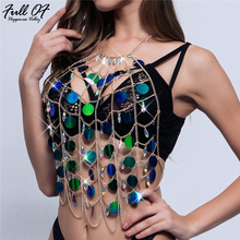 Sexy Metal Chest chain Crop Top Women Sparkling Summer Beach Hollow Halter Nightclub Party cropped bralette Sequin Tank tops New sexy hollow chest chain crop top women sparkling diamond beading befree summer beach halter nightclub party cropped tank tops hl