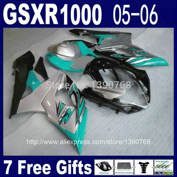 Injection mold motorcycle fairing kit for SUZUKI K5 K6 GSXR 1000 05 06 blue silver black ABS fairings set GSXR1000 2005 2006 NJ1 термосумка thermos beauty series eva mold kit blue 469717
