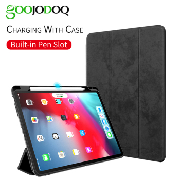 GOOJODOQ Funda For iPad Pro 11 Case with Pencil Holder Support Wireless Charging for Apple Pencil 2 for iPad Pro 11 2018 Case